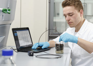 Man measuring in sediment with a dipping probe connected to an OXY-1 SMA oxygen meter