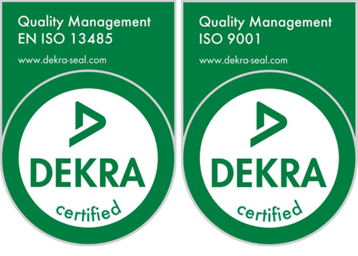 DEKRA seals, certified according to ISO 9001 and EN ISO 13485