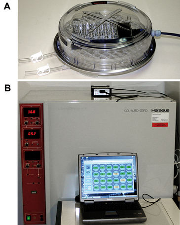 Set-up of SDR inside cell culture chamber for O2 monitoring in HSPC culture