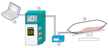 Illustration of measurement set-up for culture monitoring in bags with the Optrode Dual