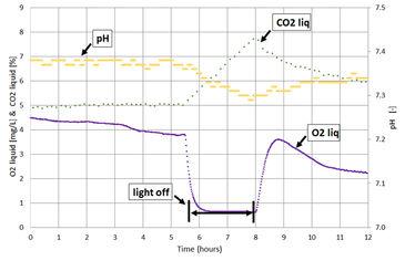 Graph showing O2, pH, CO2 during dark-light tests in photobioreactor