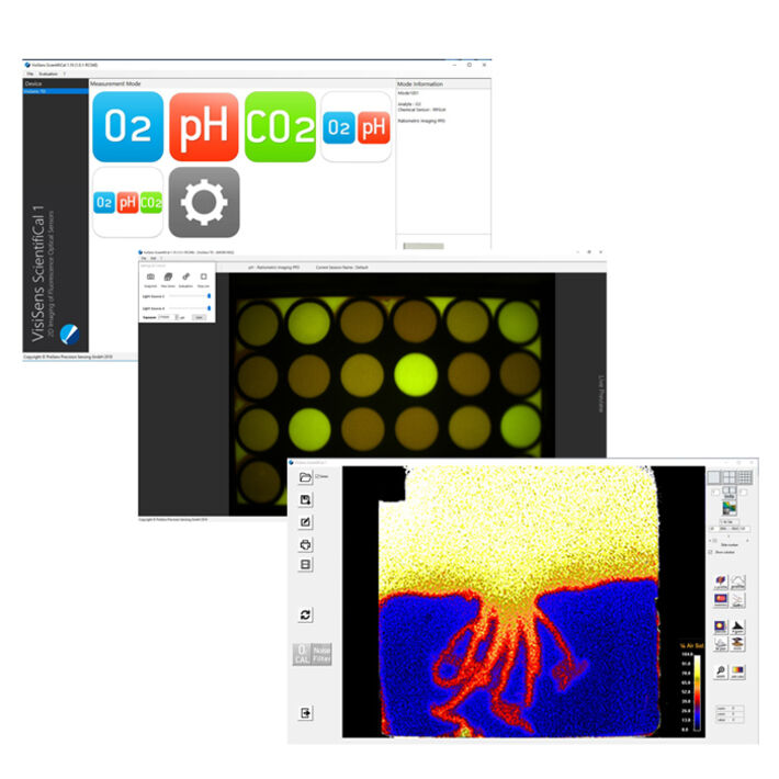 Screens of VisiSens™ ScientifiCal software to control the VisiSens TD imaging system