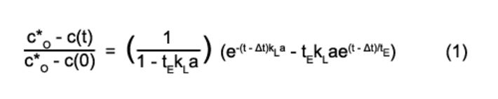 Formula for kLa determination in described experiments