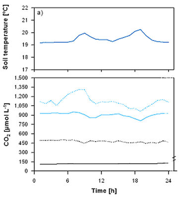 Temperature, CO2 & O2 concentrations of soil at ash fine root