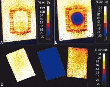 O2 content in micro-channel with air and filled with sodium sulfite solution