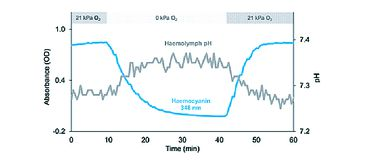 Graph of pH variation of octopus haemolymph in response to changing pigment oxygenation