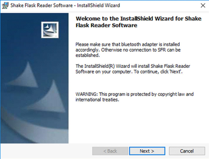 Screenshot of the InstallShield Wizard of the SFR Software by PreSens