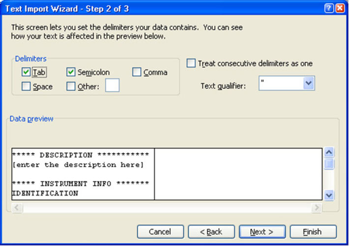 """Screenshot of the Microsoft Excel window """"Text Import Wizard - Step 2 of 3"""" with activated checkboxes """"Tab"""" and """"Semicolon""""."""