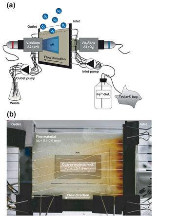 Experimental set-up for O2 & pH monitoring in flow-through chamber