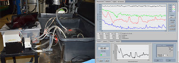 Picture of experimental set-up and live view of oxygen measurement data