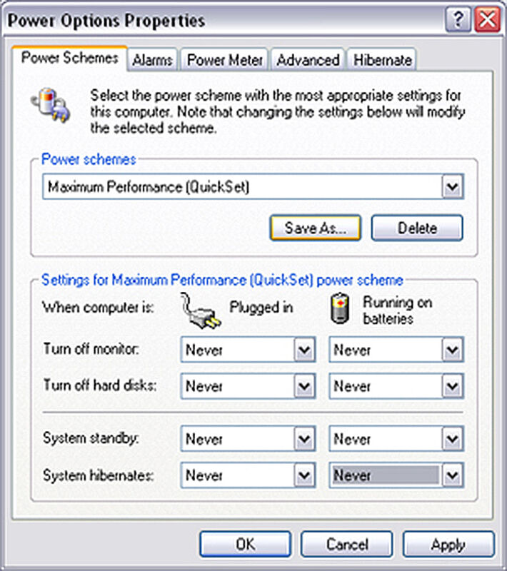 "Screen Shot of VisiSens-Software window ""Power Options Properties / Power Schemes"" by PreSens."