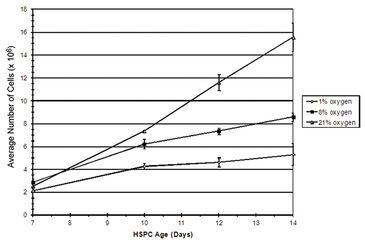 Growth curve of HSPC showing effects of physiological oxygen
