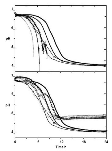 Graphs showing pH level during milk fermentation using Lc. lactis