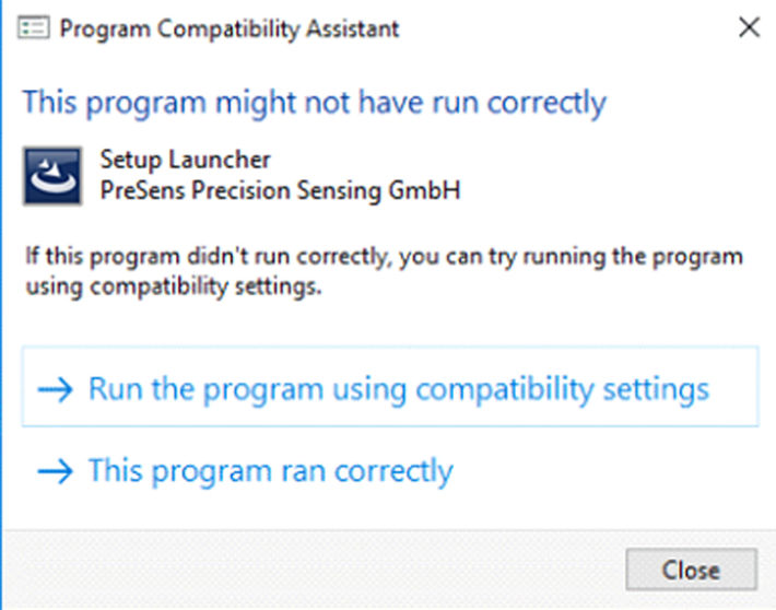 Screenshot of the SFRS Program Compatibility Assistant