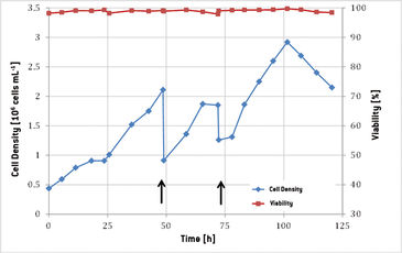 Cell density and viability during CHO cell culture in 20 L cultivation bag