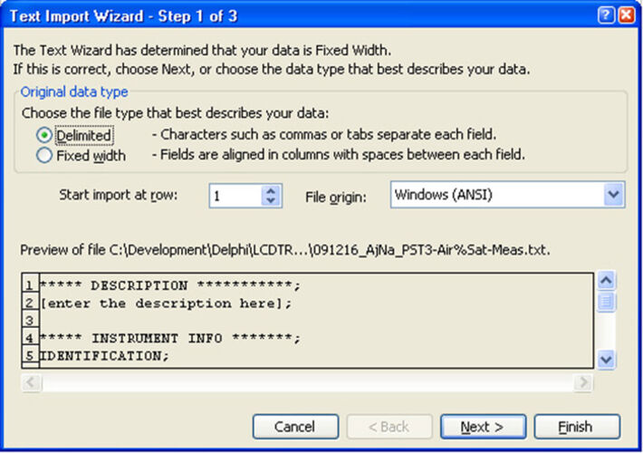 "Screenshot of the Microsoft Excel window ""Text Import Wizard"" with activated checkbox ""Delimited"""