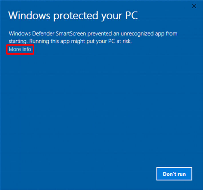 "Screenshot of the SFRS software window ""Windows protected your PC"""