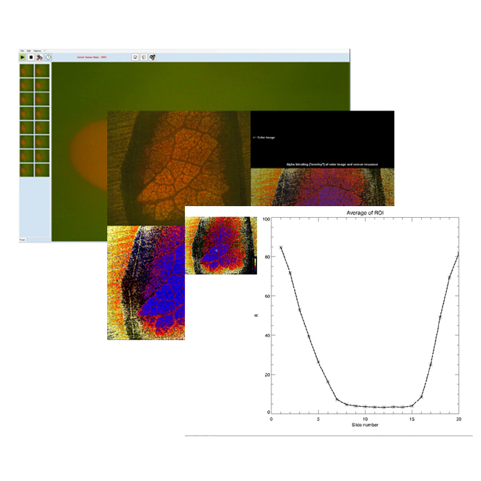 Screens of VisiSens™ AnalytiCal 1 software to control the VisiSens™ A1 oxygen imaging system